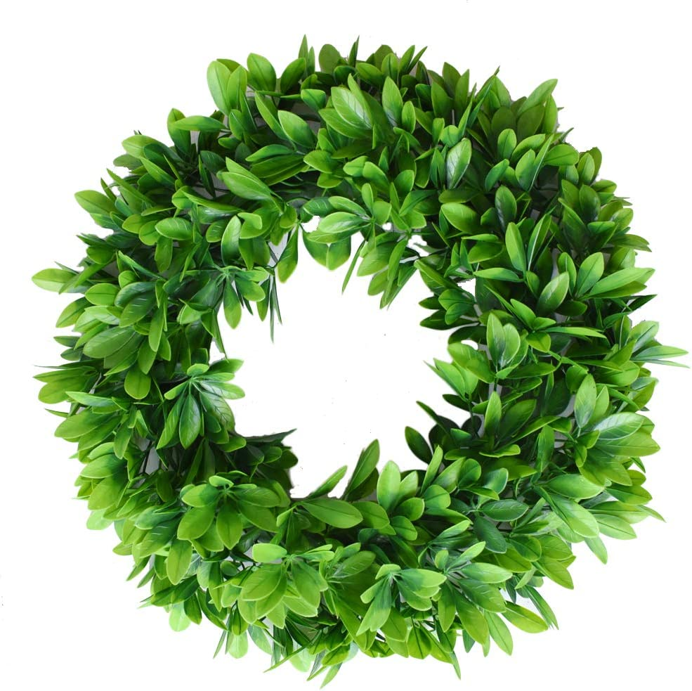 "Palmhill 17"" Eucalyptus-Wreath Artificial Green Leaves Door Wreath Eucalyptus Leaves Wreath Eucalyptus Garland for Home Office Wall Front Door Wedding Decor Large Eucalyptus Wreath Garland"