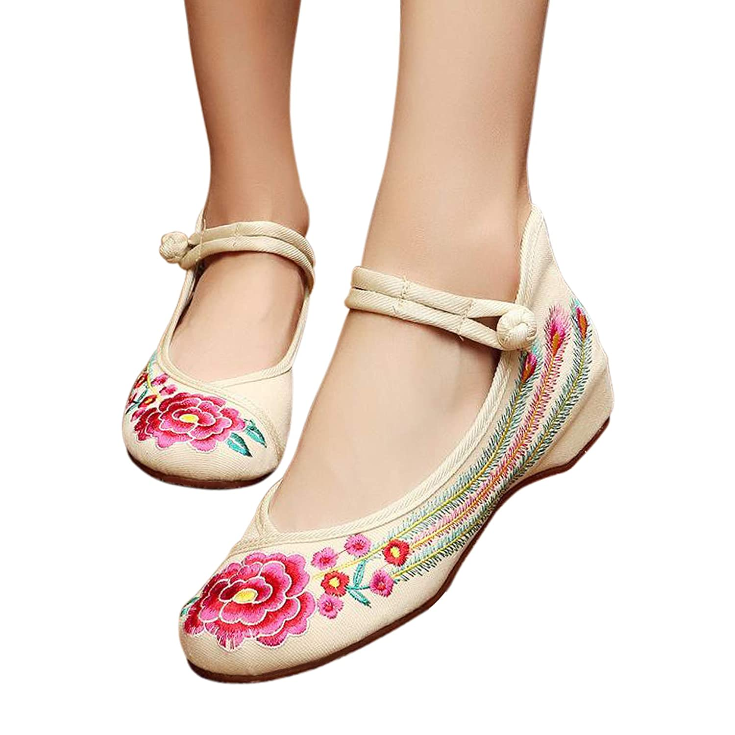 bab84916c Clothing, Shoes & Jewelry CINAK Embroidered Flats Shoes Womens Chinese  Embroidery Ballet Lofers Slip on Comfortable Bohemia Shoes