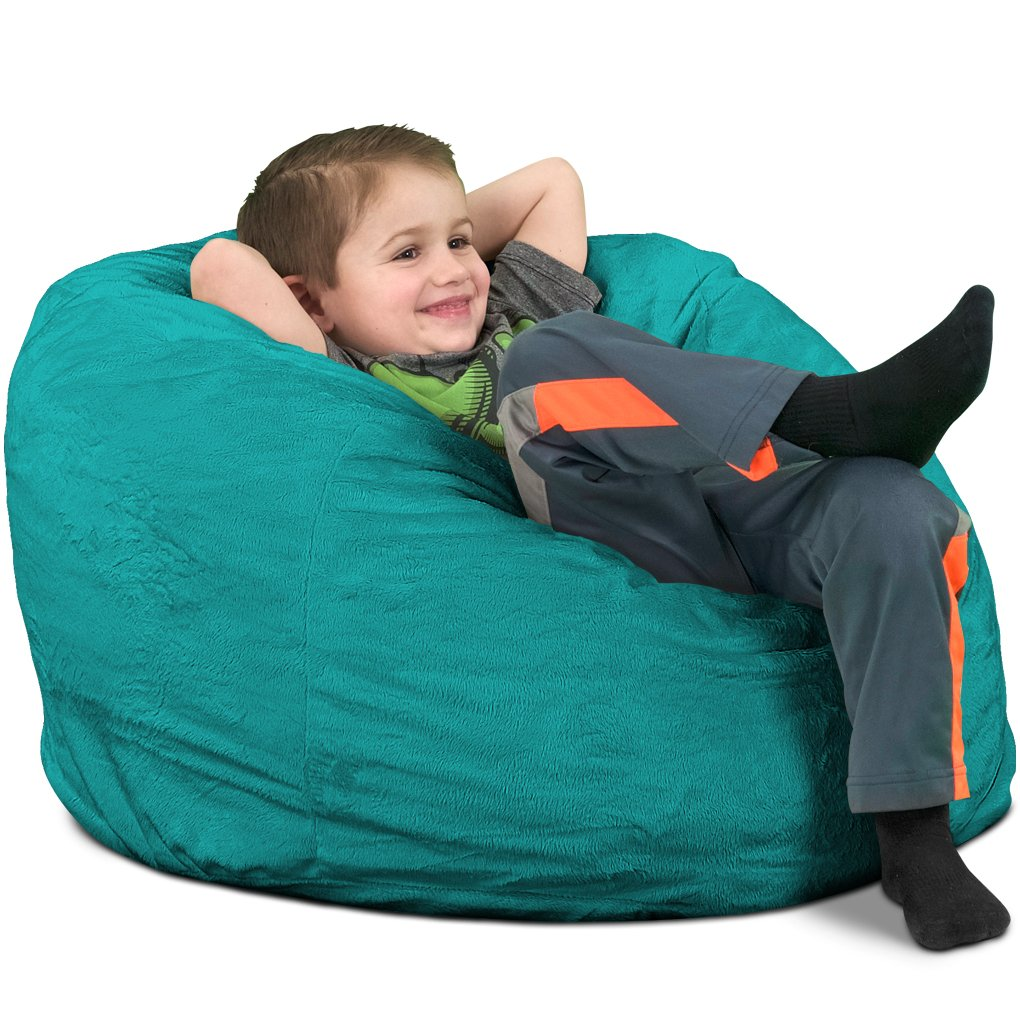 ULTIMATE SACK Bean Bag Chairs in Multiple Sizes and Colors Giant Foam-Filled Furniture – Machine Washable Covers, Double Stitched Seams, Durable Inner Liner. Kids Sack, Teal Suede