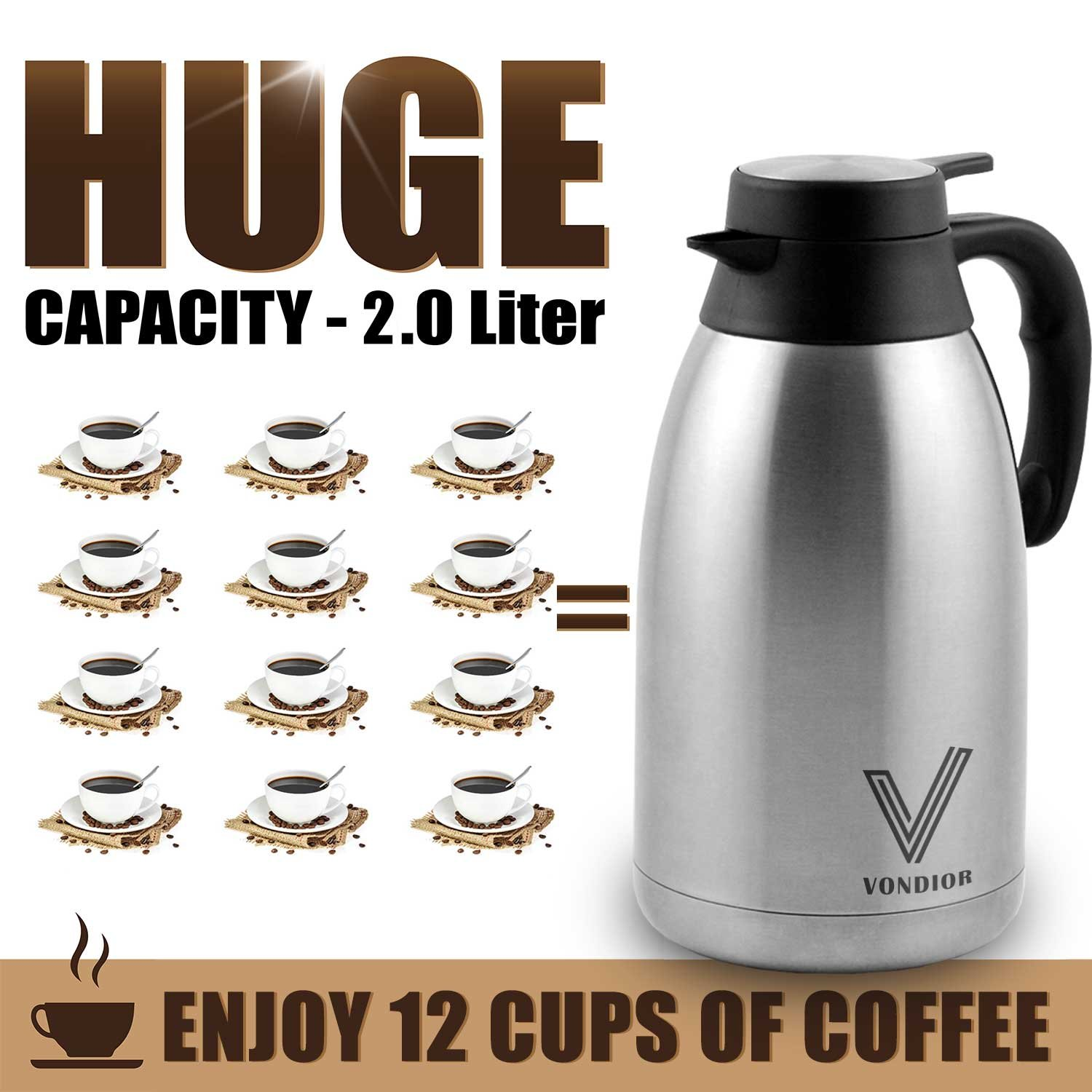 Coffee Thermal Carafe (68 Oz) + Free Brush - Large stainless steel thermos carafes, Keep water hot up to 12 Hours, double walled insulated vacuum flask, Beverage Dispenser By Vondior by Vondior (Image #6)