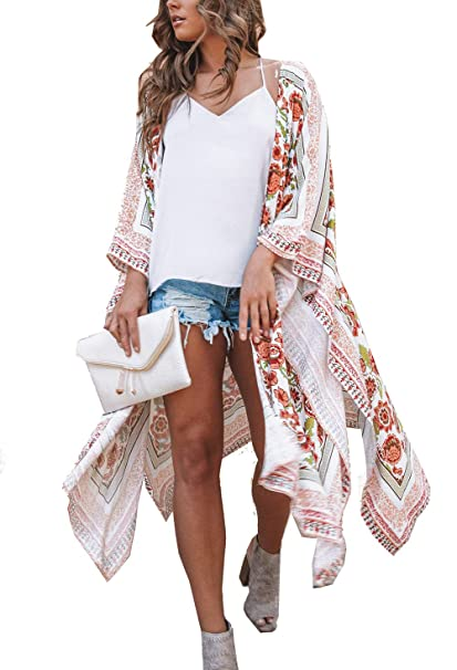 14cfb12c8b490 casuress Women's Sheer Chiffon Blouse Tops Kimono Cardigan Floral Loose  Cover Ups Outwear Plus Size at Amazon Women's Clothing store: