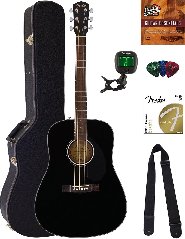 Amazon Fender Cd 60s Dreadnought Acoustic Guitar Black Bundle