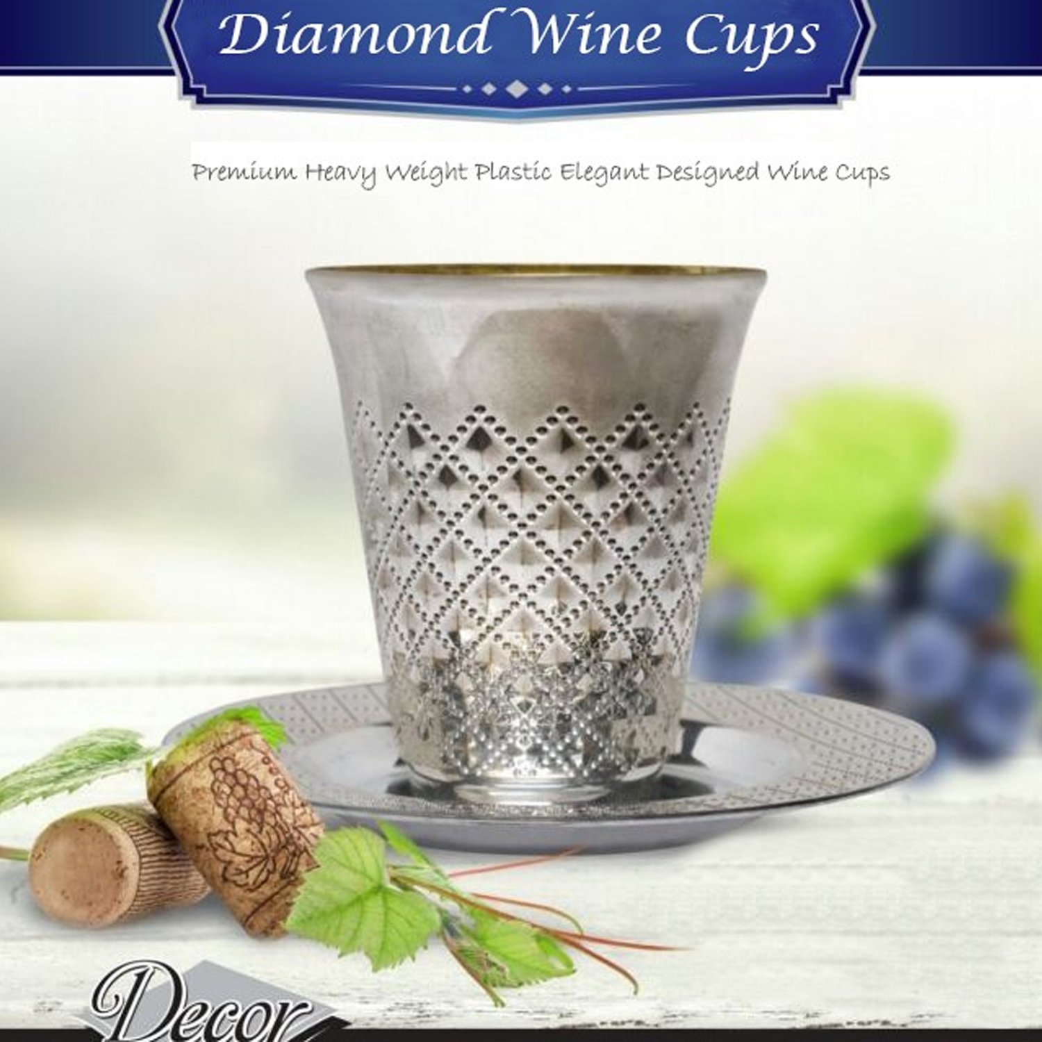 Decor Diamond Kiddush Disposable Wine Cups and Saucers Silver 10ct