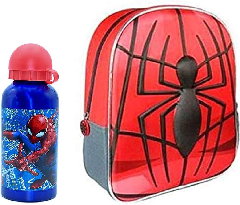 Mochila Disney Multicolor, 35cm Infantil 3D con Botella de Agua de Aluminio de 400ml cantimplora térmica a Prueba de Fugas sin BPA