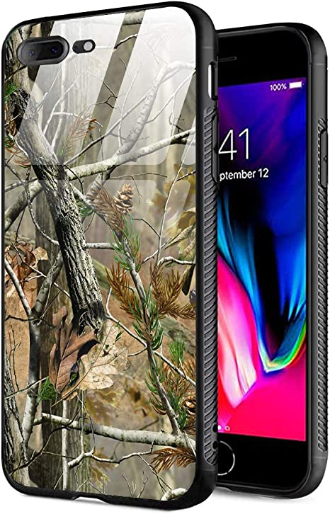 Amazon Com Iphone 7 Plus Case Iphone 8 Plus Case 9h Tempered Glass Back Cover Tpu Shock Absorption Bumper Protective Case Compatible For Iphone 7 8 Plus Realtree Camo