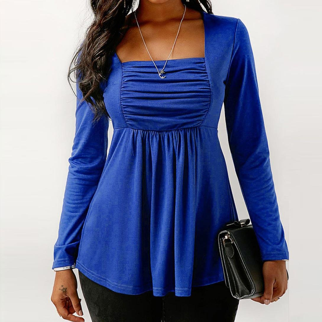 Minisoya Women Square Neck Long Sleeve Ruched T-Shirt Pleated Tunic Tops Pullover Shirt Casual Draped Blouse (Blue, 2XL): Amazon.co.uk: Clothing
