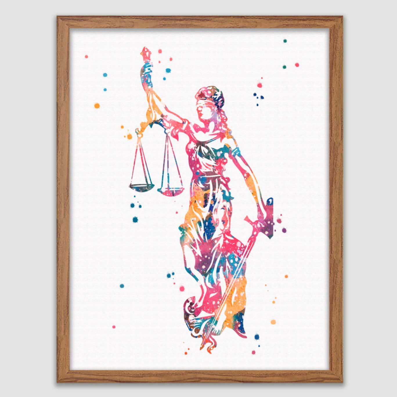 Lady Justice Watercolor Poster Law Student Art Gavel Print Lawyer Office Decor Scales of Justice Wall Art Judge Law Wall Hanging Lawyer Gift