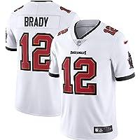 LKJHG Tampa Bay 12# Brady Camiseta de Rugby de poliéster de Manga Corta para Hombres jóvenes con Bordado, Blanco/Gris…