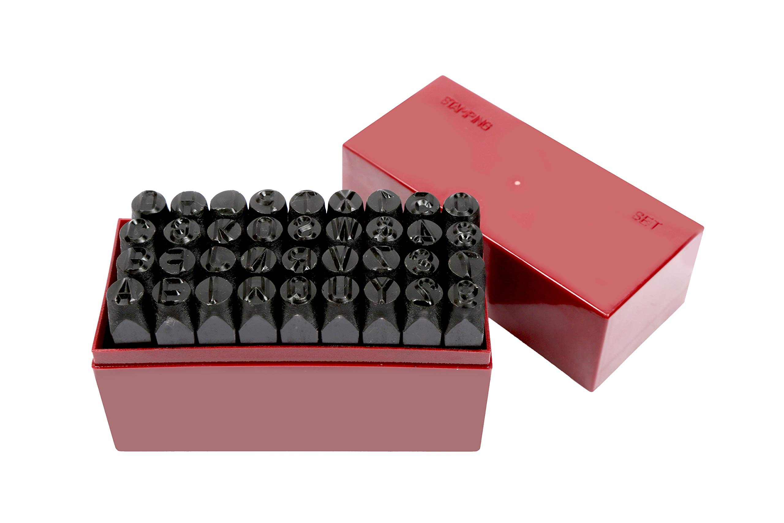 36 pc 3/8'' Steel Metal Punch Letter & Number Stamp Stamping Kit Set With Case by Vector Tools