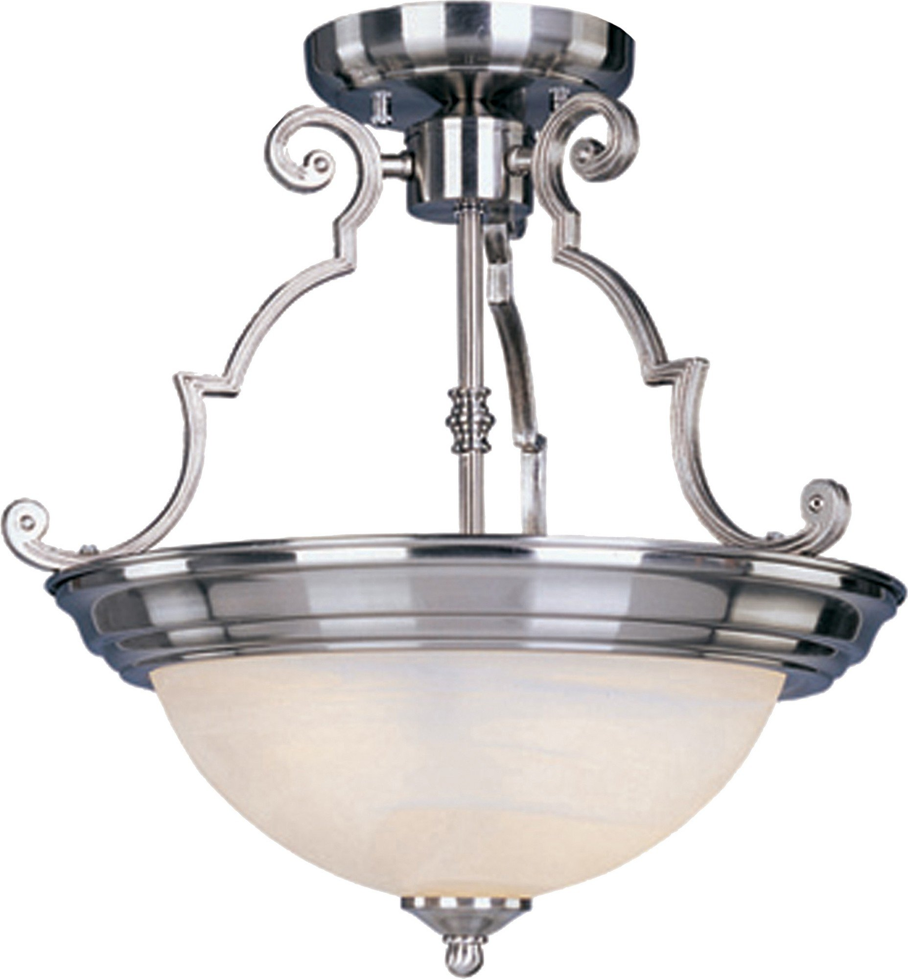 Maxim 5843MRSN Essentials 2-Light Semi-Flush Mount, Satin Nickel Finish, Marble Glass, MB Incandescent Incandescent Bulb , 50W Max., Dry Safety Rating, Standard Dimmable, Metal Shade Material, 550 Rated Lumens