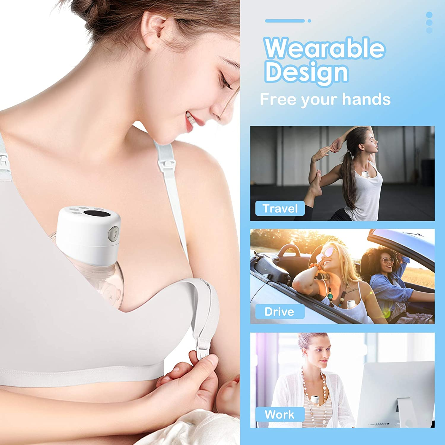 Electric Baby Hands-Free & Portable Quiet,with 2 Mode & 9 Levels ...