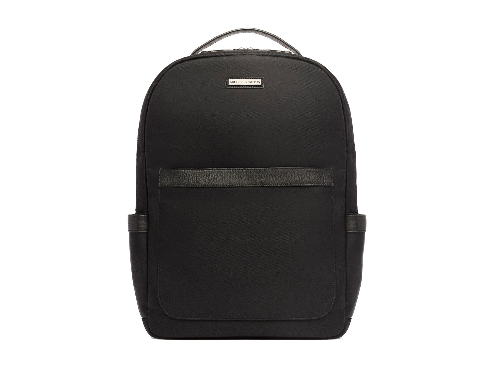 "Archer Brighton Jake Laptop Backpack, Men's 15"" Business TSA Travel Leather Canvas Multipurpose Backpack (Black)"
