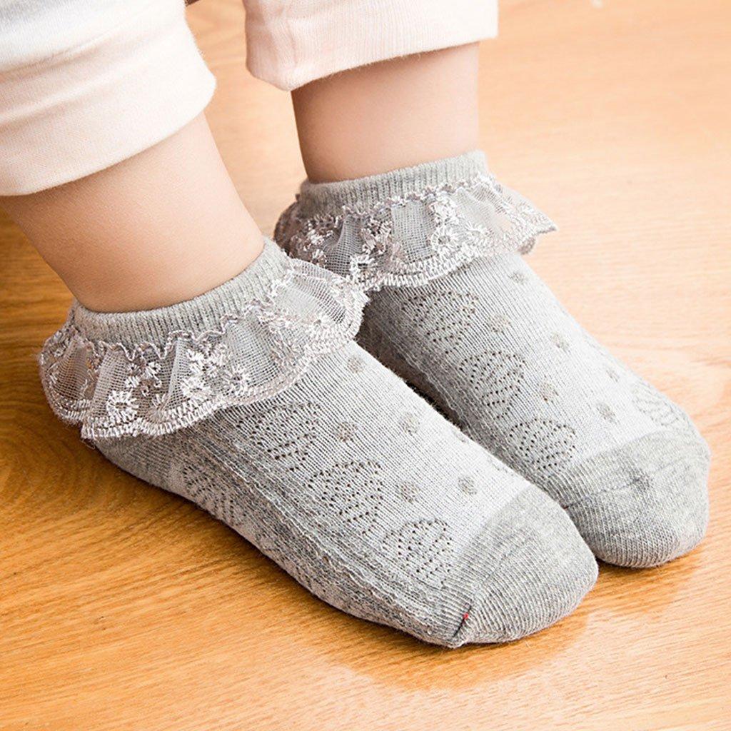 LLLucky Baby M/ädchen /Öse R/üsche R/üschen Spitze Blume Socken Kleinkind M/ädchen Rutschfeste Kn/öchel Tutu Kurze Socken Beige Meduim