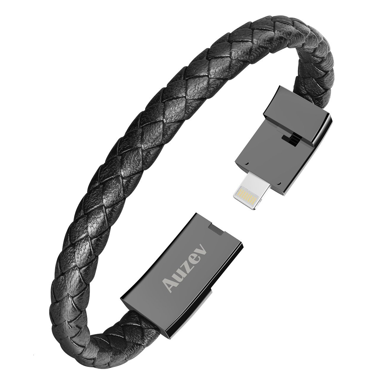 Auzev USB Charging Cable Bracelet Fashion Wrist Data Charger Cord Leather Cuff Band for iPhone iPad, iPod, Air Pods (Black, M(7.2'')