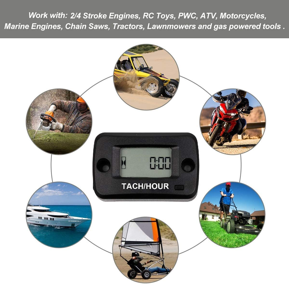 SEARON Inductive Digital Engine Hour Meter for Boat Yama Ski Dirt Quad Dirt Bike Marine ATV Motorcycle Snowmobile Small Engine Generator Tach Hour Meter