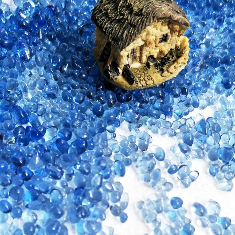 Fish Tank Light Blue Garden Vase Fillers Succulent Plants Decor KISEER Clear Aquarium Glass Beads Bulk 1 Pound Glass Gems Marbles Pebbles Gravel Rock for Aquarium