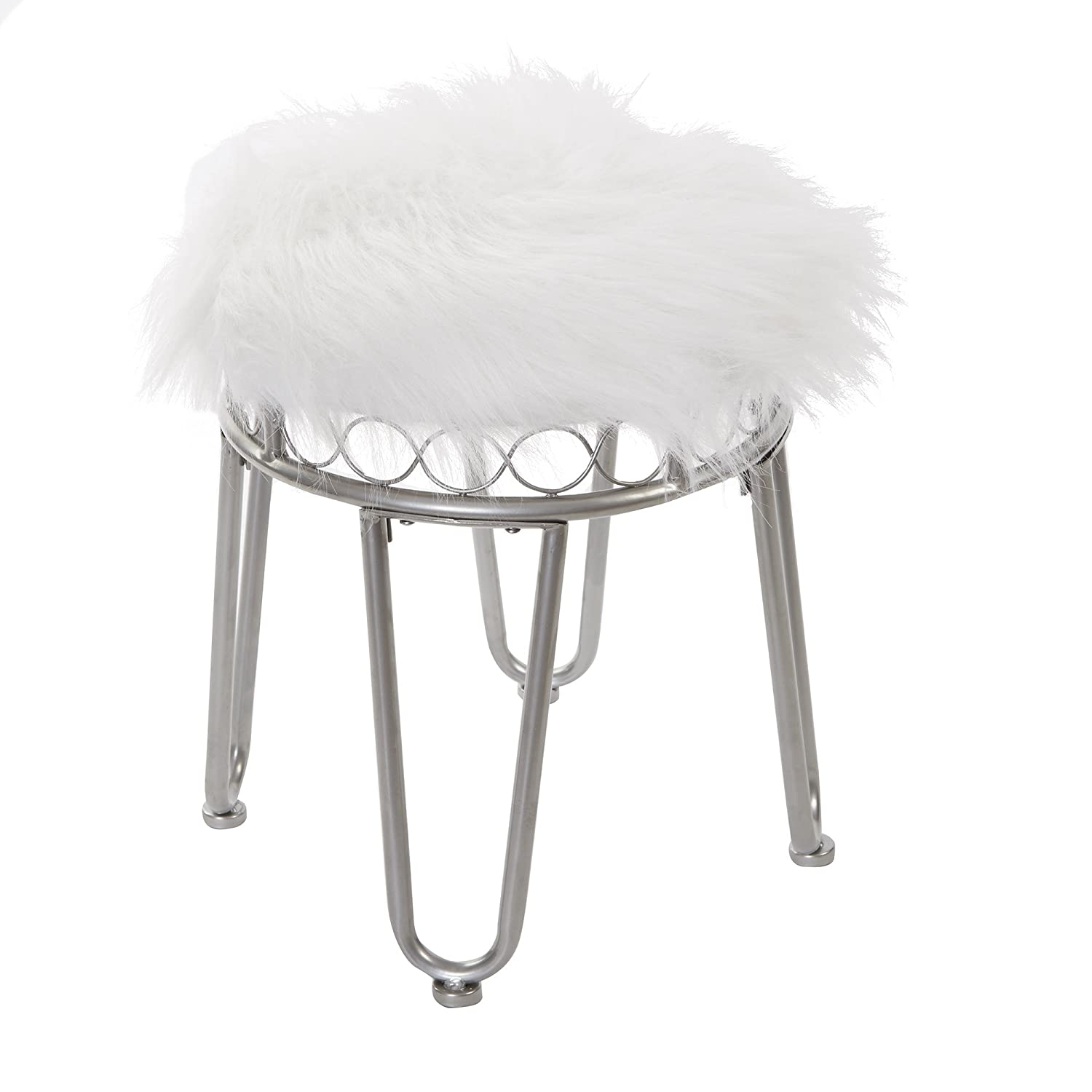 Silverwood Hannah Vanity Stool with Hairpin Legs Cheyenne Products FV1108-BN-FUR