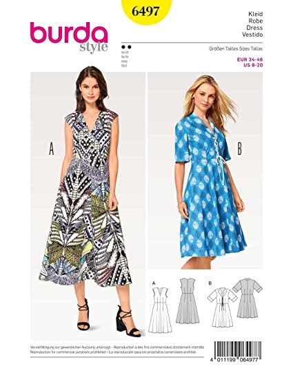 44679a36ae3 BURDA SEWING PATTERN MISSES  SUMMER DRESSES DRESS SIZE 8 - 20 BURDA 6497   Amazon.co.uk  Kitchen   Home