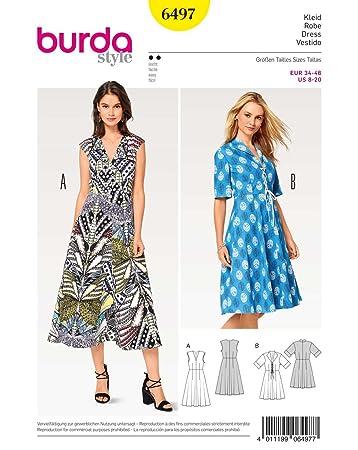 Burda 6497 Schnittmuster Kleid mit V-Ausschnitt (Damen, Gr. 34-46 ...