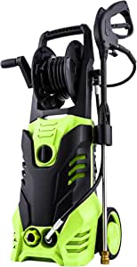 Homdox 2950PSI Pressure Washer Max Pressure 1.7GPM Power Hose Gun + Winding Shaft 32.8ft Cord + 5 Interchangeable Nozzles(Green)