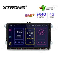 XTRONS Head Unit Android 9.0 for Volkswagen/Seat/Skoda, Octa Core 4GB+64GB GPS Navigator 9 Inch Touch Screen Auto Radio Stereo Plug & Play In-built CANbus 2K Video 4G WiFi DVR OBD2 DAB+ TPMS Mirroring