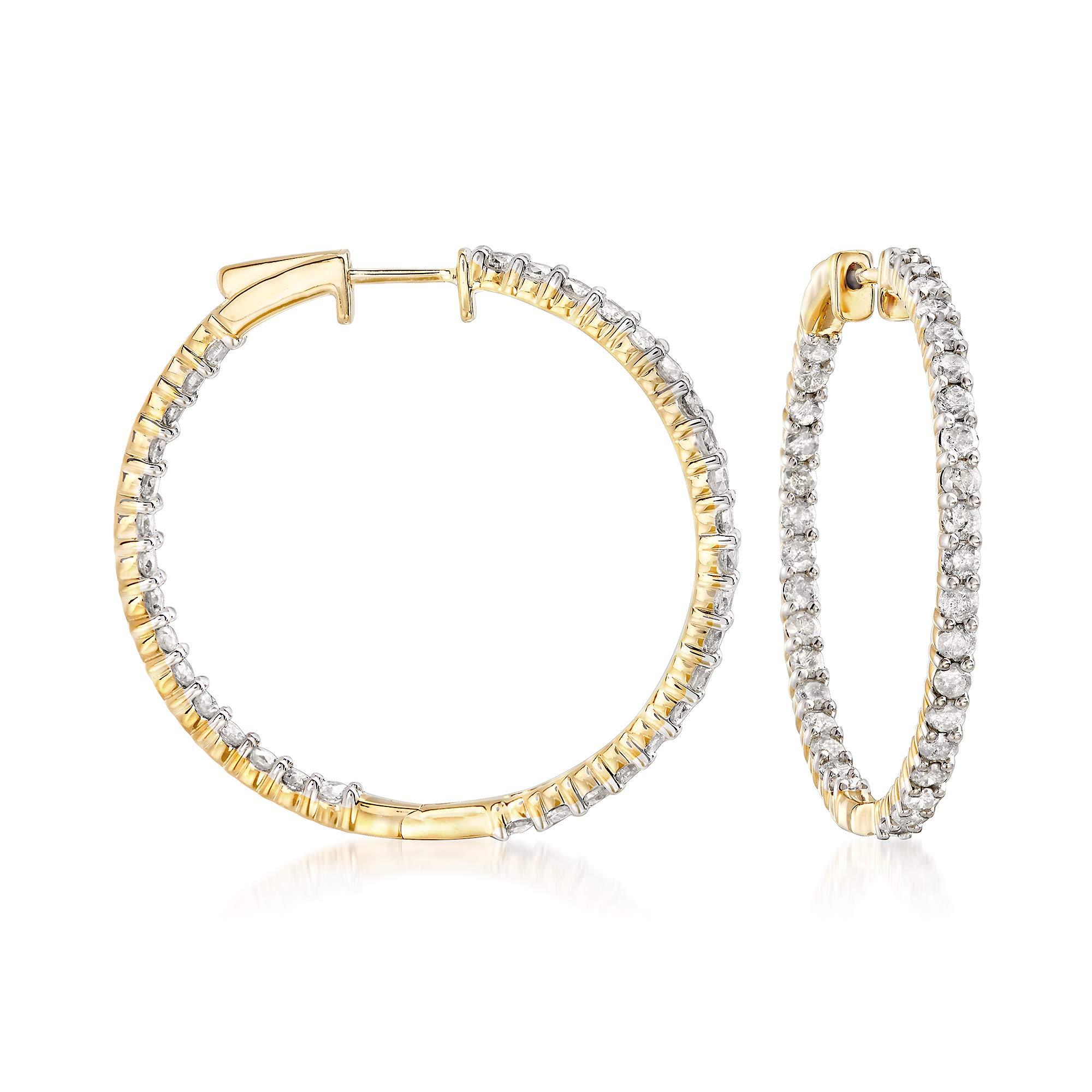 Ross-Simons 3.00 ct. t.w. Diamond Inside-Outside Hoop Earrings in 18kt Gold Over Sterling