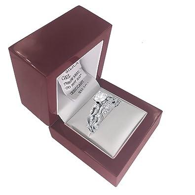 Sj Fashion - Caja de madera para anillos de compromiso, pequeña, diseño antiguo, madera de cerezo, caja de presentación para anillo de boda: Amazon.es: ...