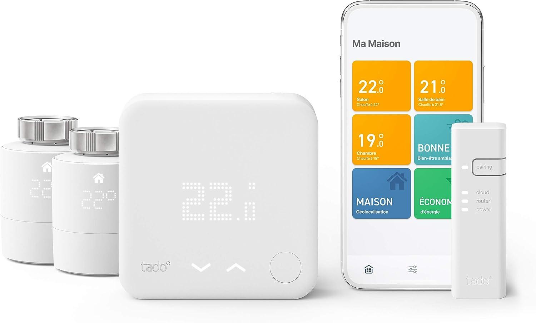 tado° Thermostat Intelligent - Kit de Démarrage V3+ et 2 Têtes Thermostatiques...