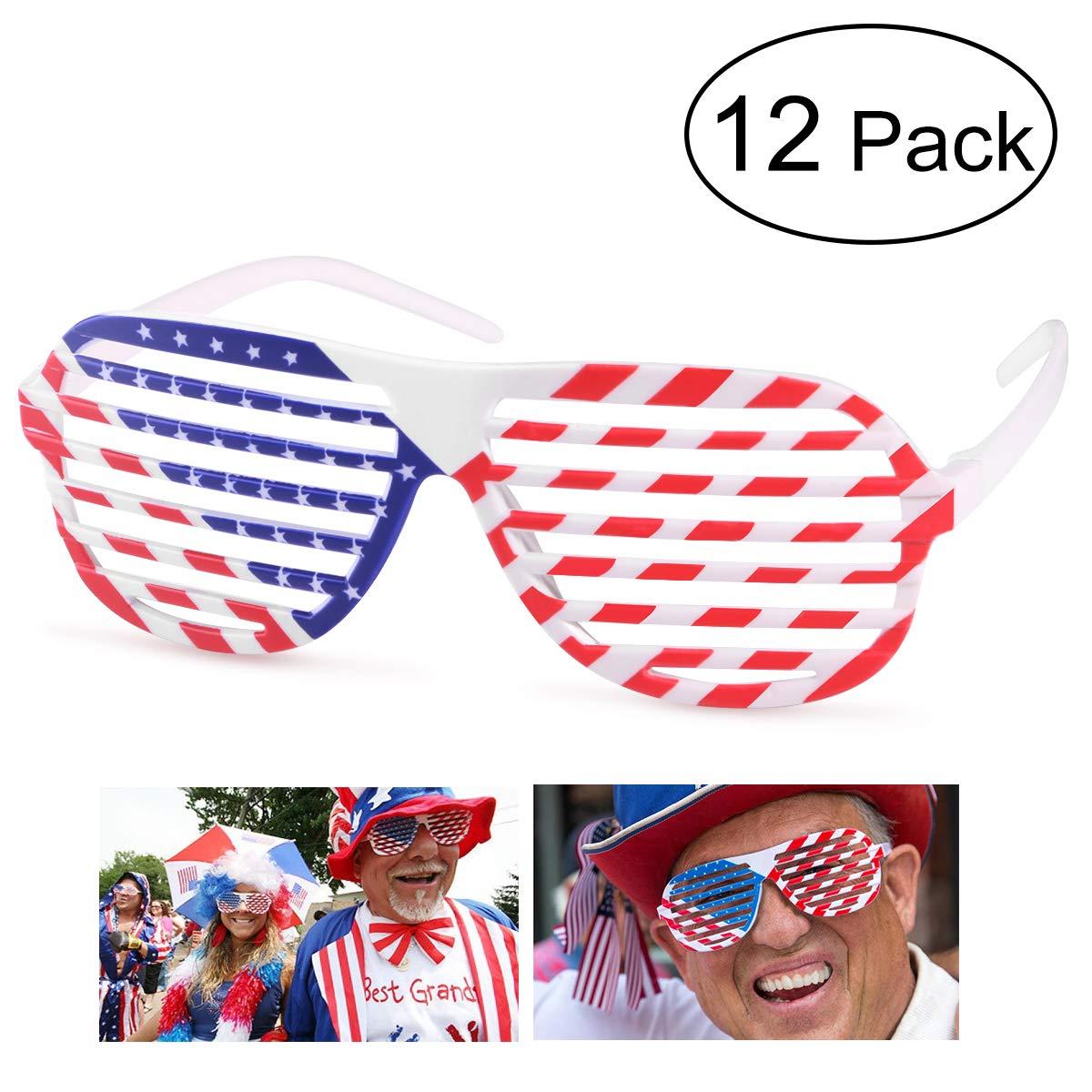 3a94de6fe93ee Amazon.com  BESTOYARD Shutter Shading Glasses American Flag USA Patriotic  Glasses Shades Sunglasses Party Props Decoration 12pcs  Toys   Games