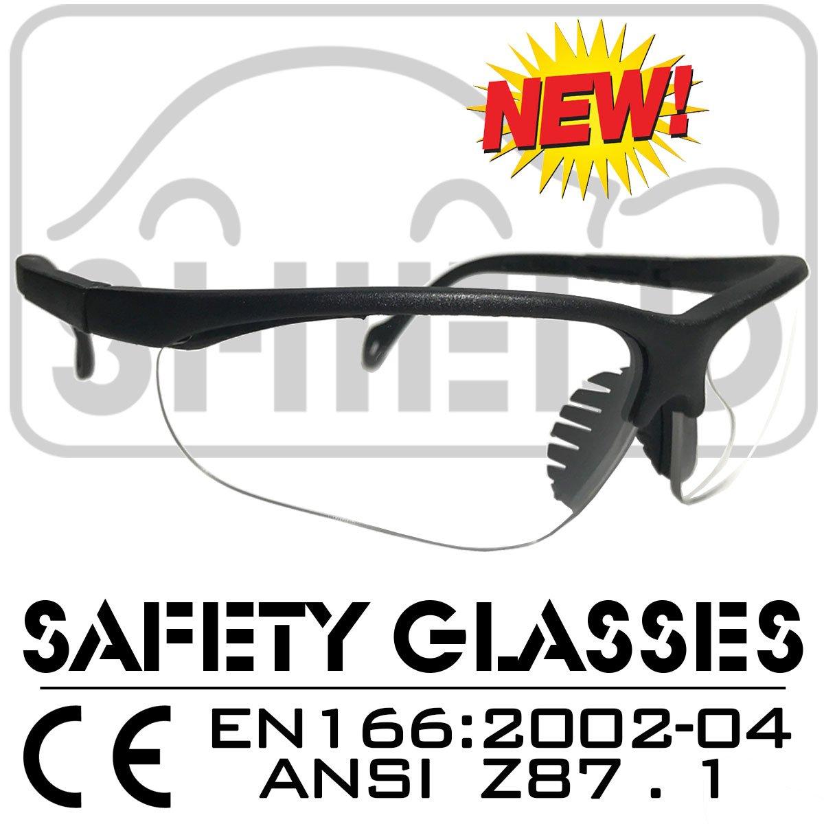 Shield *Shooter* Clear Sport Schutzbrille, Sicherheitsbrille, Schieß brille, Arbeitsschutzbrille Nach Din EN-166, Bikerbrille RC-PROFIS ER9307C