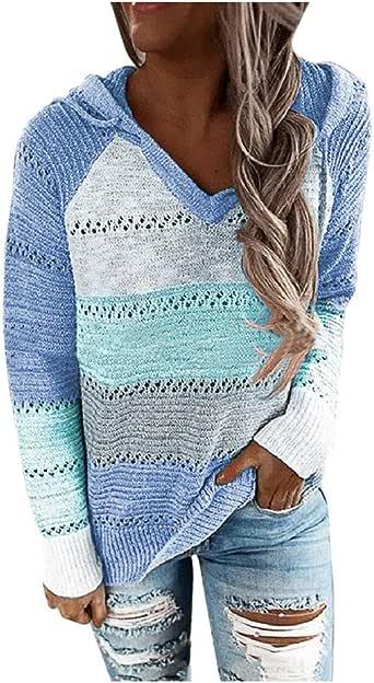 Fossen Sudaderas Mujer Cremallera Tallas Grandes Color de Costura, Jerséis Mujer Originales Suéter de Punto Ahuecado con Capucha