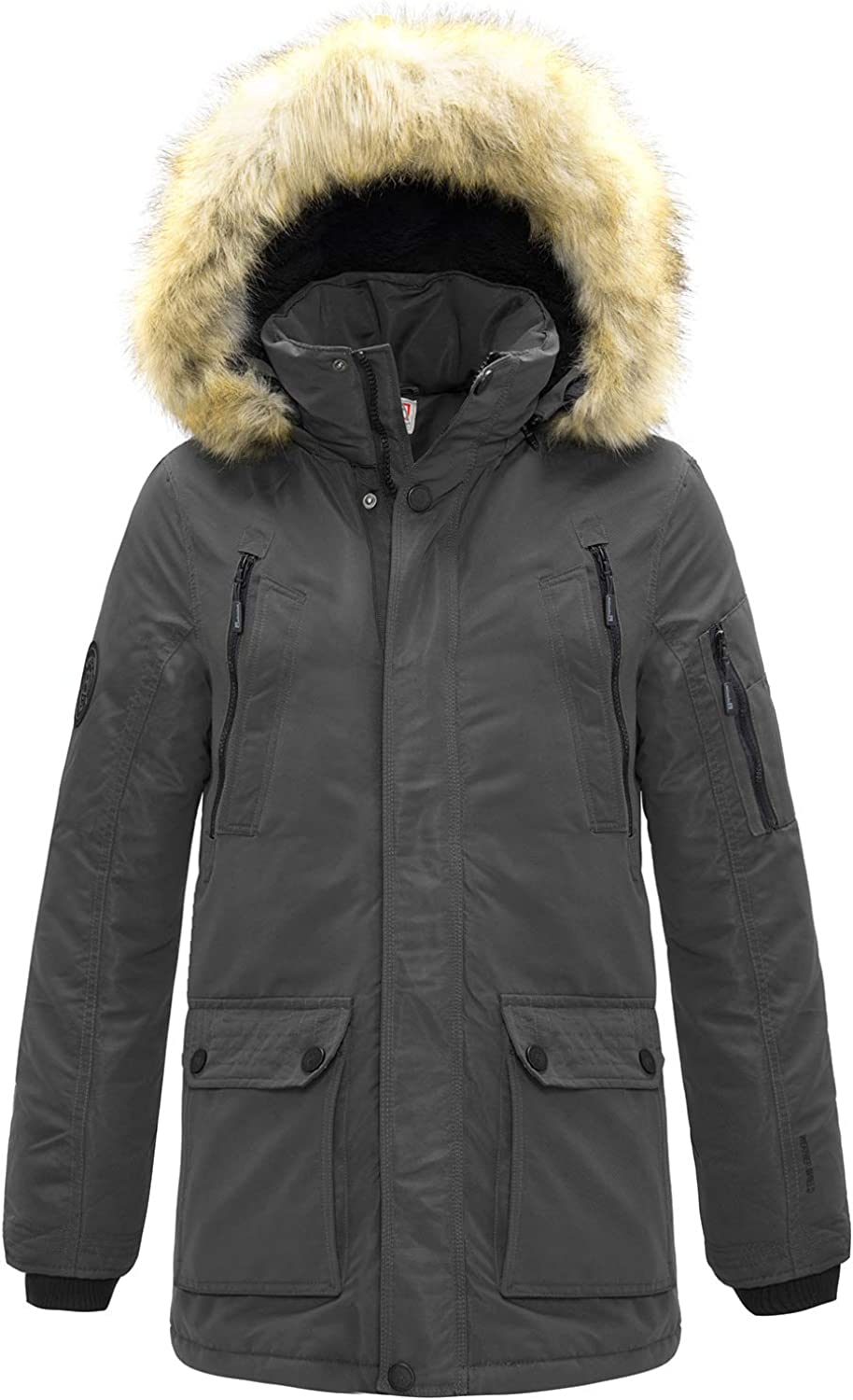 SwissWell Parka Jacket Mens Coats with Fur Hood Winter Warmth Thicken Casual Outwear Coat