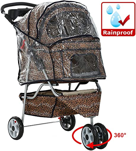 All Terrain Extra Wide 3 Wheels Pet Dog Cat Stroller w RainCover