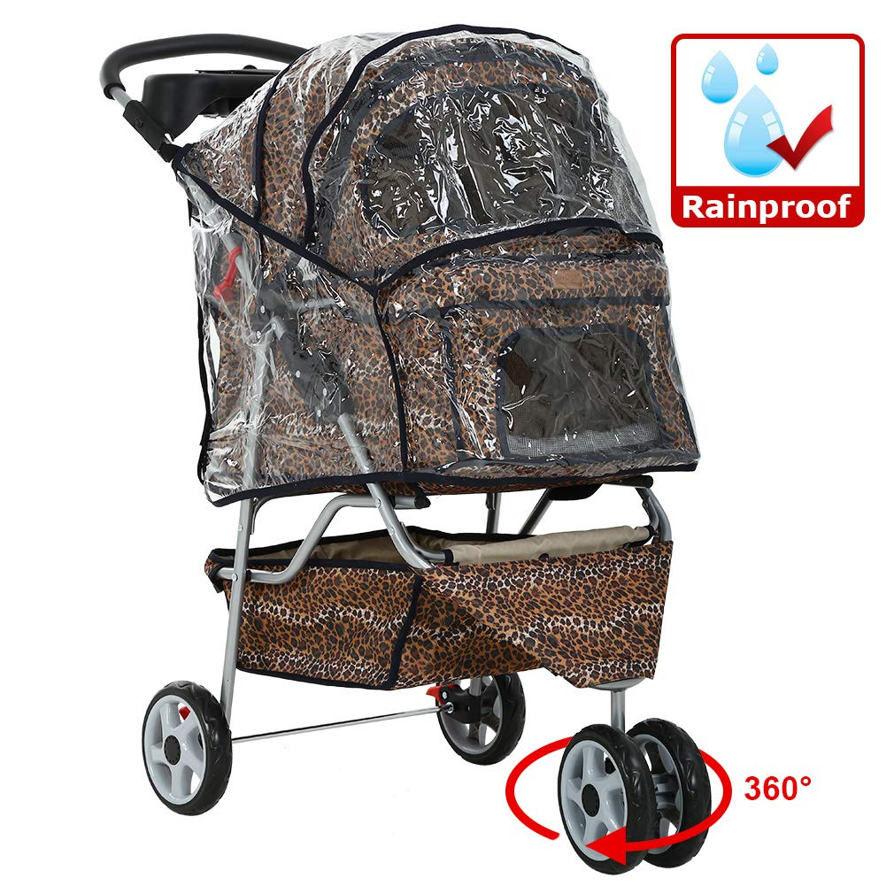 All Terrain Extra Wide Leopard Skin 3 Wheels Pet Dog Cat Stroller w/RainCover by BestPet
