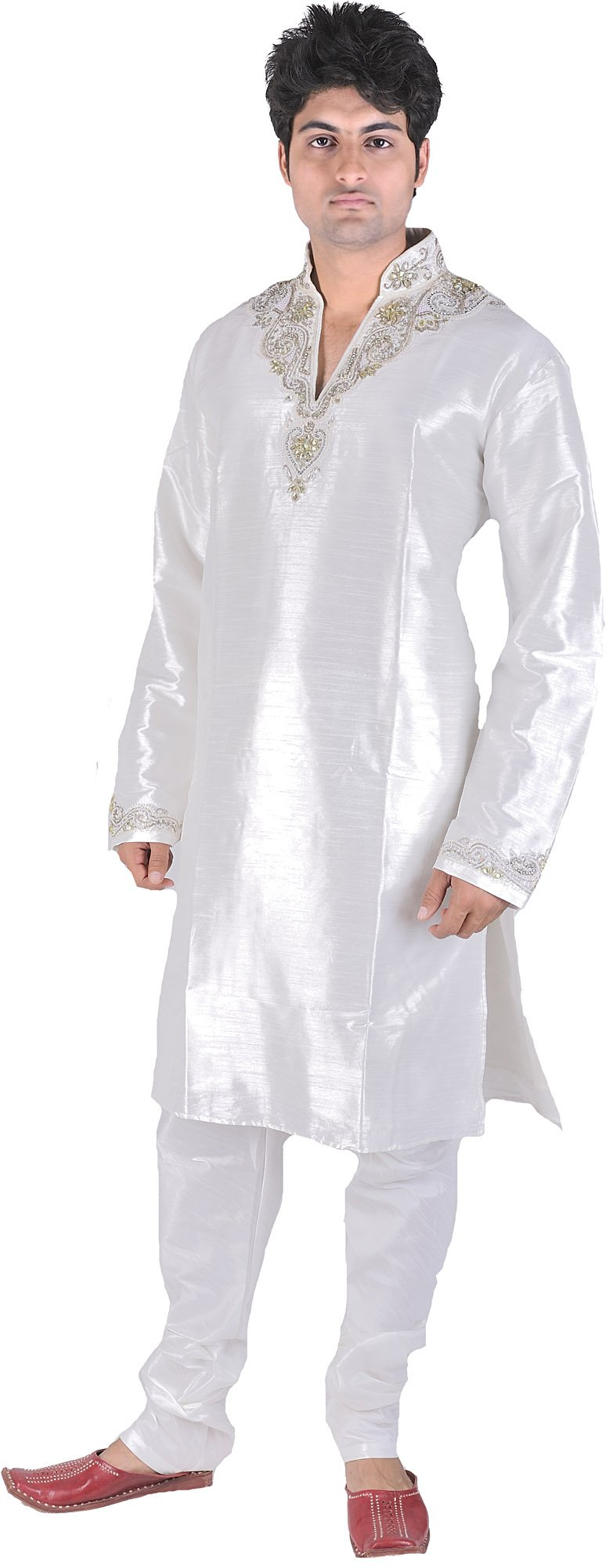 Exotic India White Wedding Kurta Pajama with Beads Embr Size 42