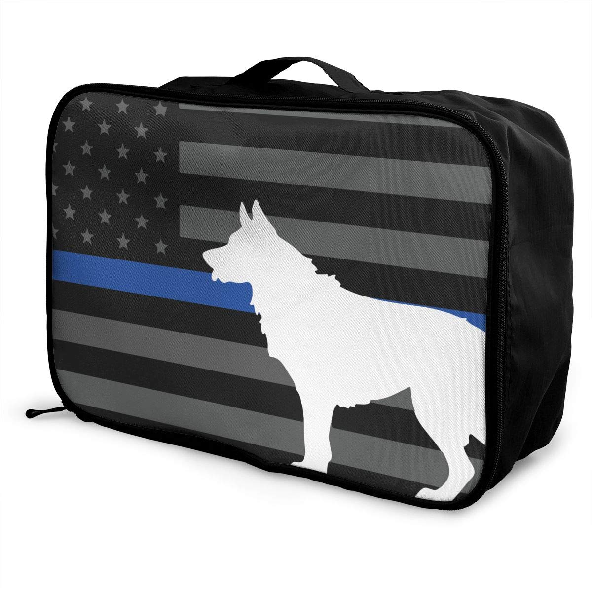 Police Dog Thin Blue Line Flag Lightweight Large Capacity Portable Luggage Bag Travel Duffel Bag Storage Carry Luggage Duffle Tote Bag
