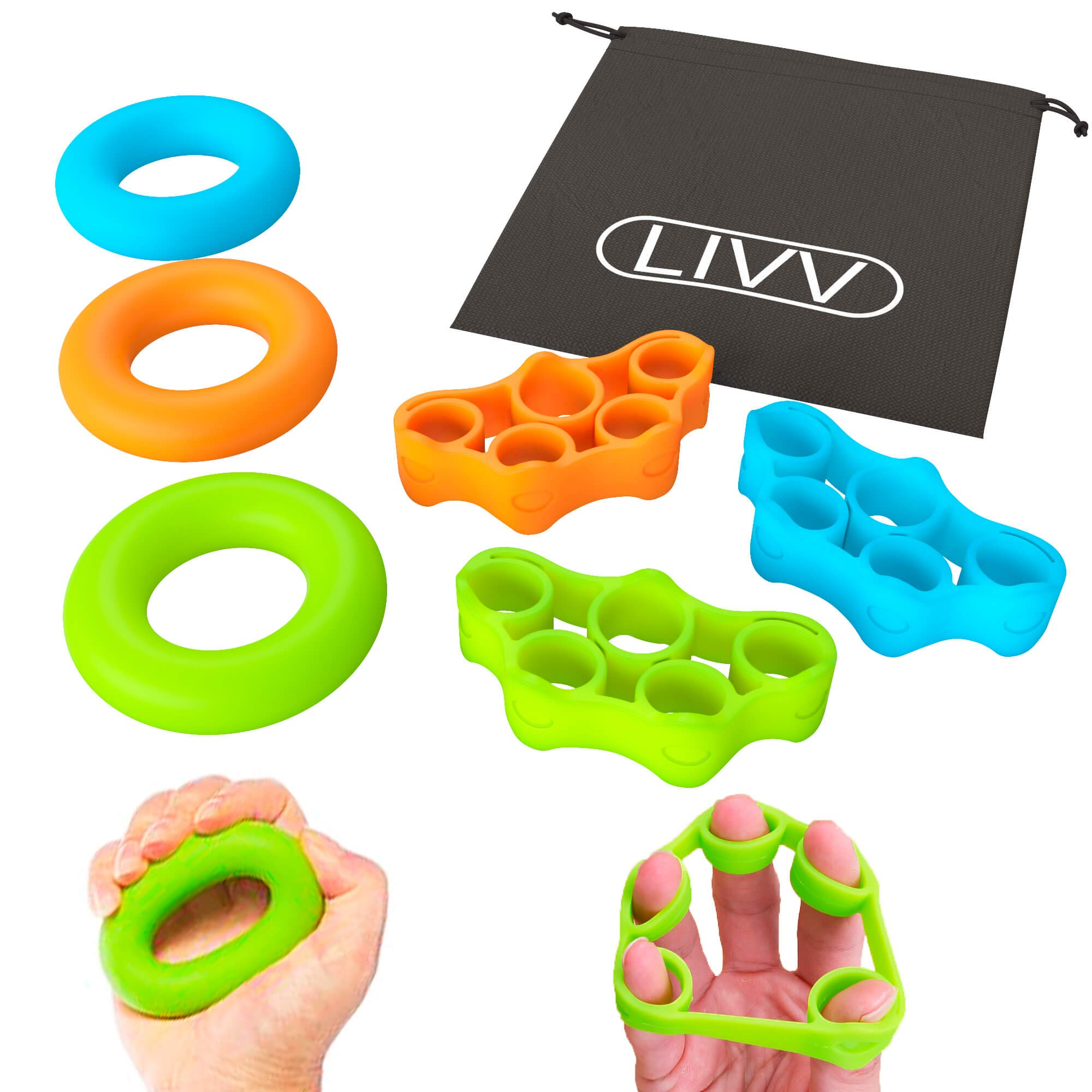 LIVV FITNESS Premium Finger Stretcher and Grip Strength Trainer Kit - Strengthens Fingers, Forearm, Wrist and Grip - 3 Level Finger Resistance Bands and Hand Grip Workout Rings with Carry Bag (6 Pack) by LIVV FITNESS (Image #1)