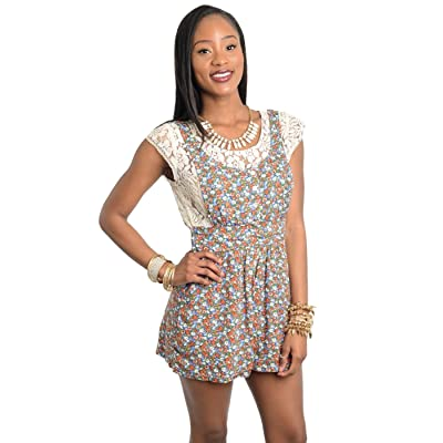 2LUV Women's Lace Lining Floral Bloomer Romper
