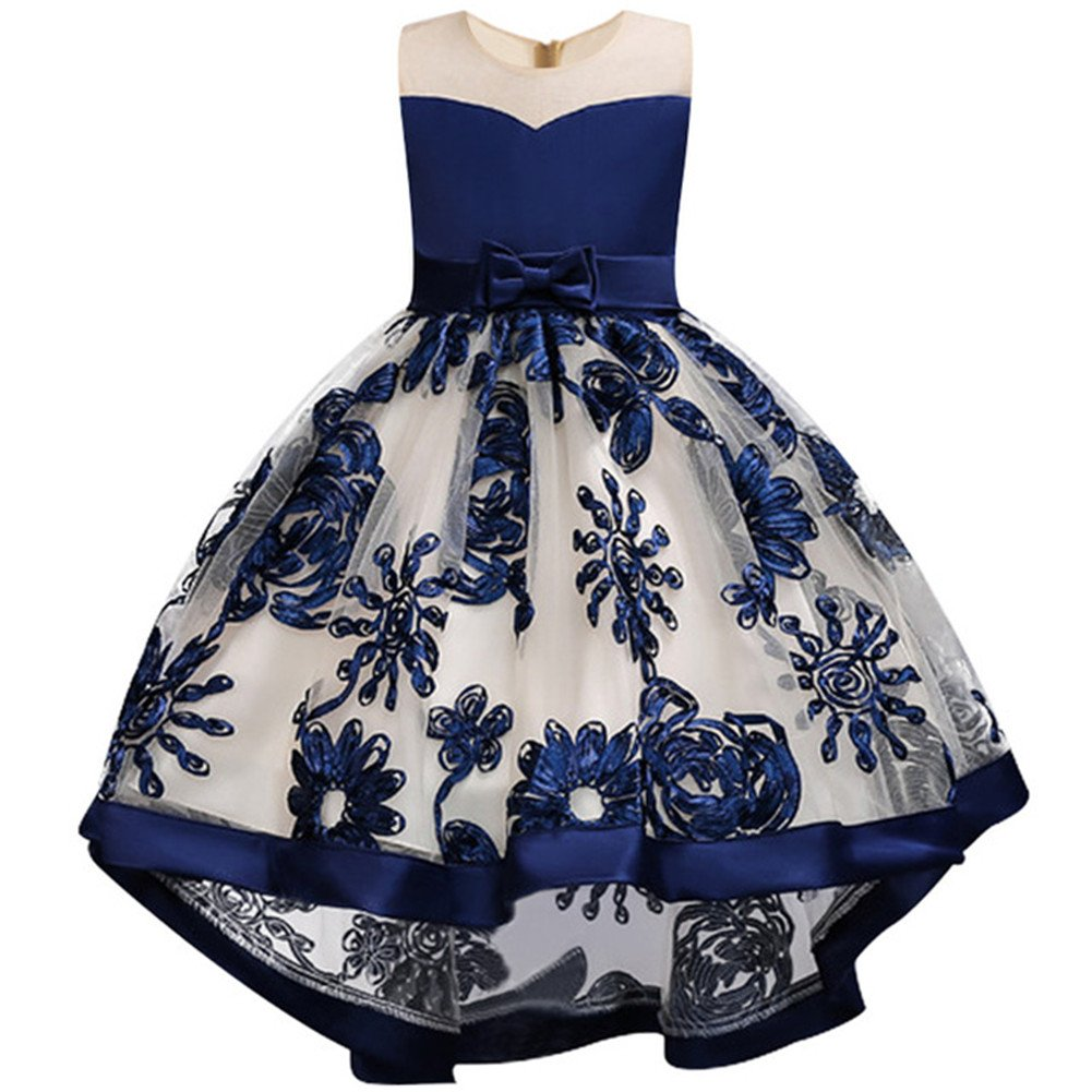 Girls Dresses for Party Wedding Communication Kids Big Flower Lace Tutu High Low Evening Wearings for Little Big Girls Summer Sun Dresses Knee Long for 2-3 Years Old Girl (Ultramarine 100)
