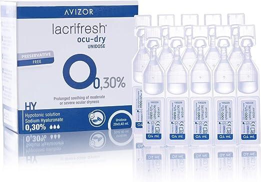 Avizor Lacrifresh Ocu-Dry 0.30%. Monodosis gotas oculares. 20 ampollas 0,4 ml de gotas oculares para aliviar los síntomas de la irritación ocular.: Amazon.es: Salud y cuidado personal
