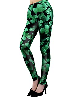 26aceaa1c9f82 Chuangdi St. Patrick's Day Leggings Irish Stretchy Tights Women Holiday  Costume Tights for Irish Party