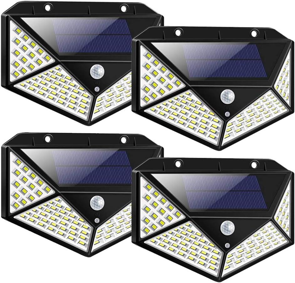 Topkar Solar Lights Outdoor 100 LED 270º Motion Sensor Security Solar Power Wall lamp(4 Pack)