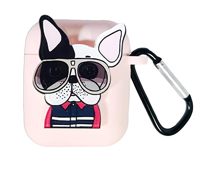 save off 69a0a ac7e8 Cute Airpods Case Cover Skin Silicone Protective Shockproof Kawaii with  Keychain Hoop (Pink Pug) for Apple AirPods Unisex
