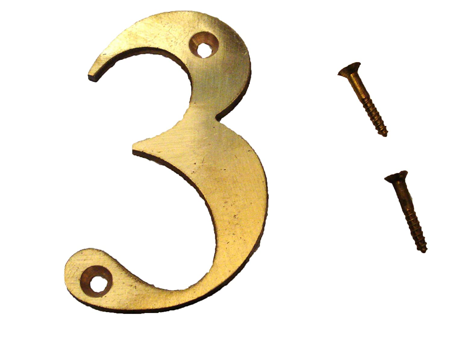 """3 – 3"""" Brass NUMBERS - Times ROMAN - HOUSE DOOR Sign - Number"""