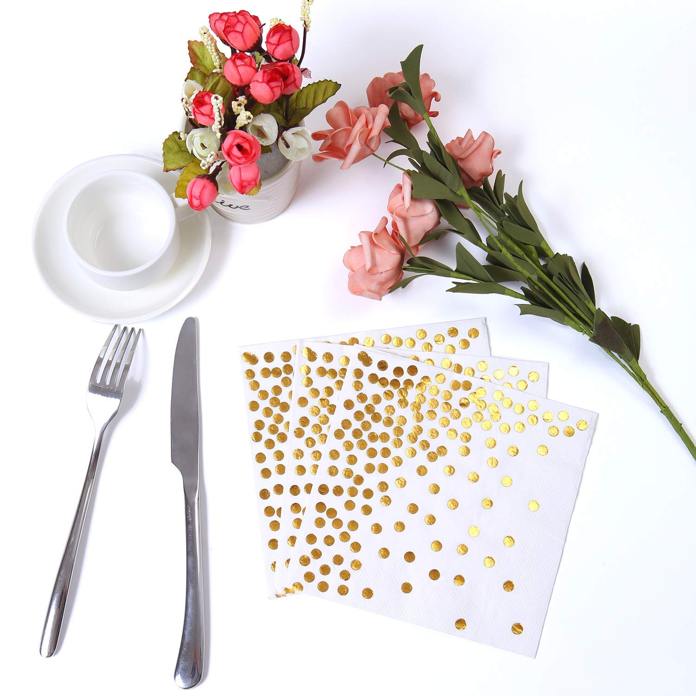 Ideal para Bodas 16.5 x 16.5 cm Oro Rosa Puntos 2 Capas Fiestas de cumplea/ños almuerzos Unique Store Servilletas de c/óctel Papel desechable 50 Piezas Blanco con Oro cenas