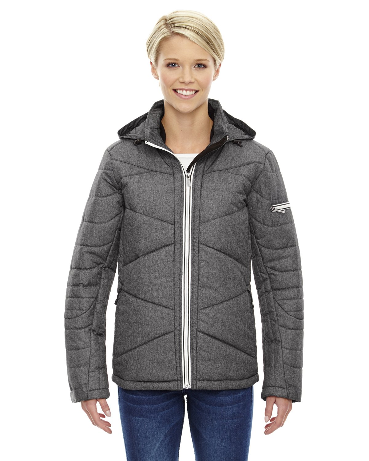 Ash City Apparel North End Sport Avant Ladies Tech Melange Insulated Jacket (X-Small, Carbon/Heather)