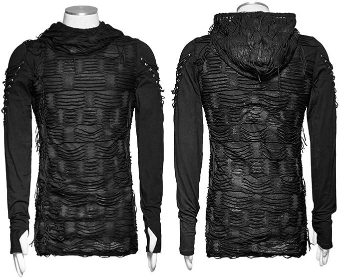 Gothique D/écadent Noir T-Shirt De Mode pour Les Hommes Punk Casual Chic Sweats /à Capuche Trou Hip Hop Steampunk Hommes Double Couches Irr/éguli/ère /À Manches Longues Tops /À Capuche