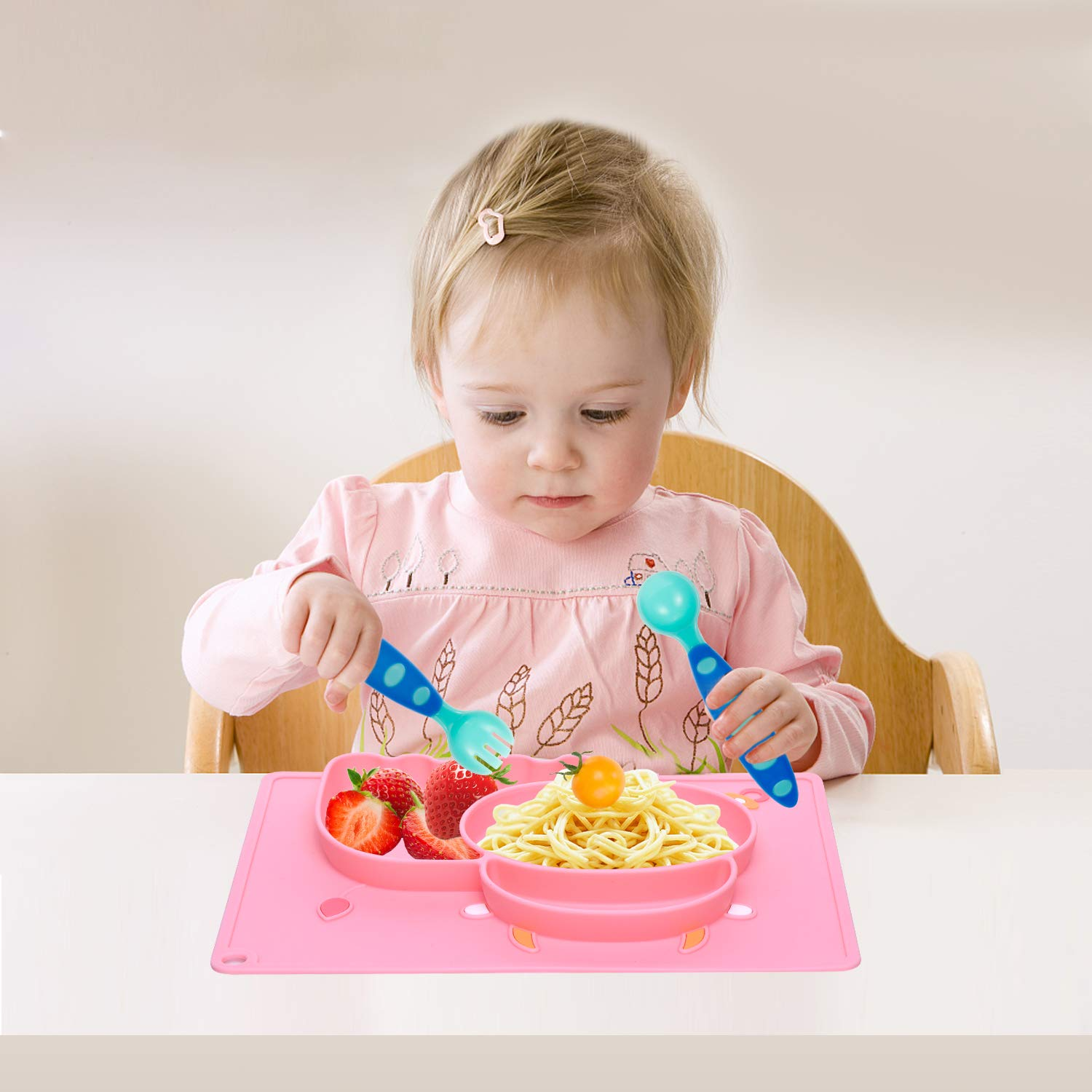 Feeding Plate Set for Toddlers Babies Kids Fits Most Highchair Trays Baby Silicone Placemat Dishwasher and Microwave Safe Pink Portable and BPA-Free Dishes with FDA Approved and Strong Suction