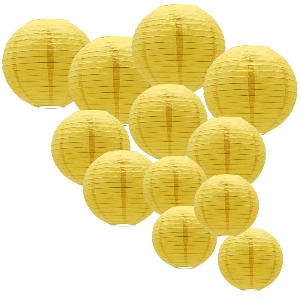 12pcs Yellow Round Paper Lanterns with Assorted Sizes for Birthday Bridal Wedding Baby Showers Festival Party Decorations