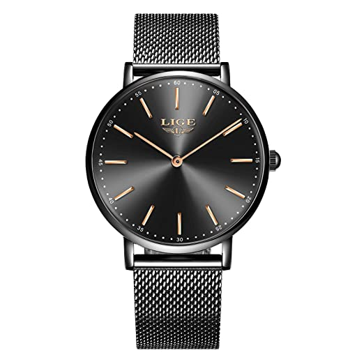 LIGE Unisexo Hombre Relojes Impermeable Mode Minimalista Cuarzo analógico Reloje Hombres Negro Acero Inoxidable Reloj: Amazon.es: Relojes